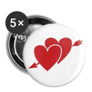 Two Hearts 1 inch - Small Buttons