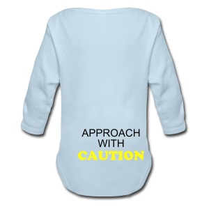 CAUTION ONE SIZE - Long Sleeve Baby Bodysuit