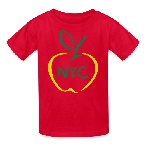 NYC in big apple w/big apple in red - Kids' T-Shirt
