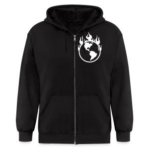 Global Warning (mens black hoodie) - Men's Zip Hoodie