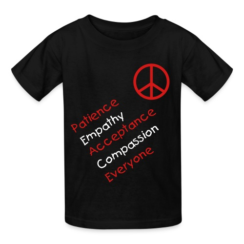 peace/empathy, etc. w/peace sign in black - Kids' T-Shirt