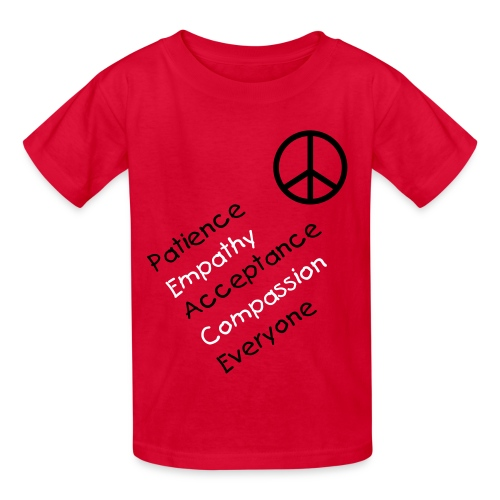 peace/empathy, etc. w/peace sign in red - Kids' T-Shirt
