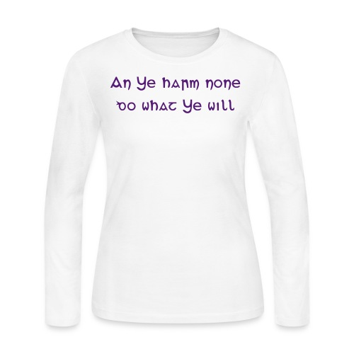 Women's Long Sleeve Jersey T-Shirt - An ye harm none, do what ye will