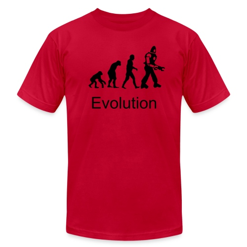 Men's  Jersey T-Shirt - This shirt features the evolution of humans. This shirt is red and comes with the words evolution printed on the front.