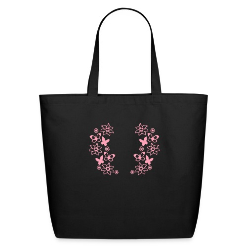 Pink Butterflies and Flowers - Eco-Friendly Cotton Tote