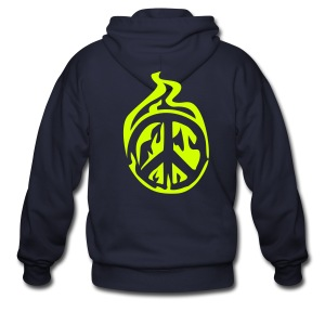 peace sign fire - Men's Zip Hoodie