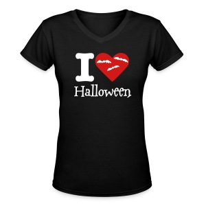 I love Halloween Women's v neck t-shirt - Women's V-Neck T-Shirt