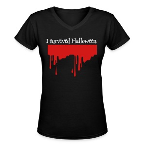 I survived Halloween Women's v neck t-shirt - Women's V-Neck T-Shirt