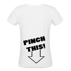 Women's V-Neck T-Shirt - White border that appears around Graphic will not be printed on shirt, for this reason most shirts are displayed in the basic white color. Also Graphics that are the same color as the shirts color may not show up as well as on a different shirt color.