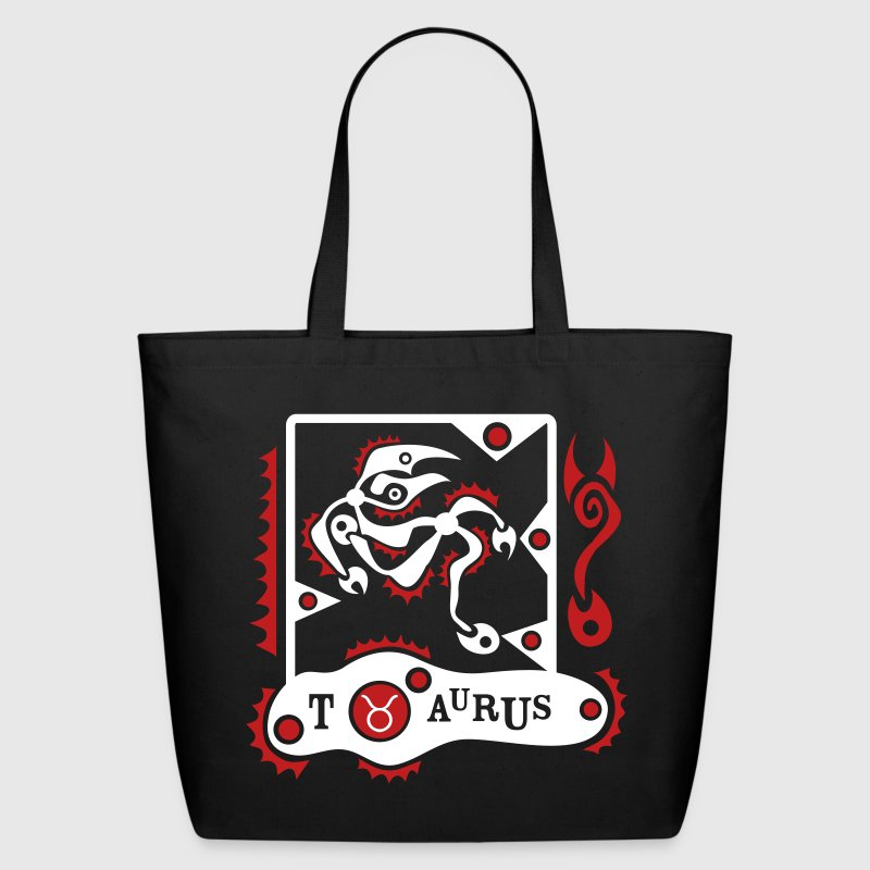 Black Taurus-Bull-Zodiac-Sign Eco-Friendly - Eco-Friendly Cotton Tote