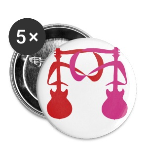2 Guitars (Red and Neon Pink) 2 - Large Buttons