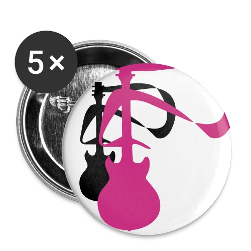 2 Guitars (BLK and Neon Pink) 3 - Large Buttons