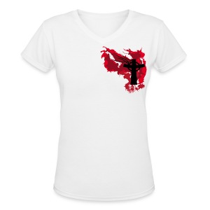 Artistic Blood Cross - Women's V-Neck T-Shirt