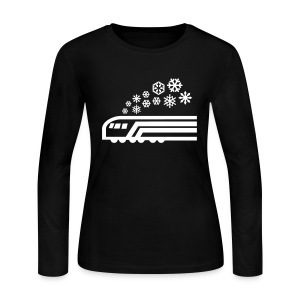 Snowflake White on Blue Long Sleeve [NO NAME] - Women's Long Sleeve Jersey T-Shirt