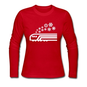 Snowflake White on Red Long Sleeve [NO NAME] - Women's Long Sleeve Jersey T-Shirt