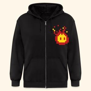 Pixel_Fireball - Men's Zip Hoodie