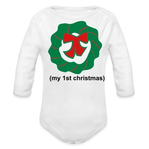 1st xmas wreath - Long Sleeve Baby Bodysuit