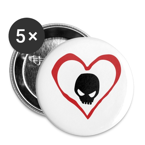 5 Pack Skull in heart Button - Large Buttons
