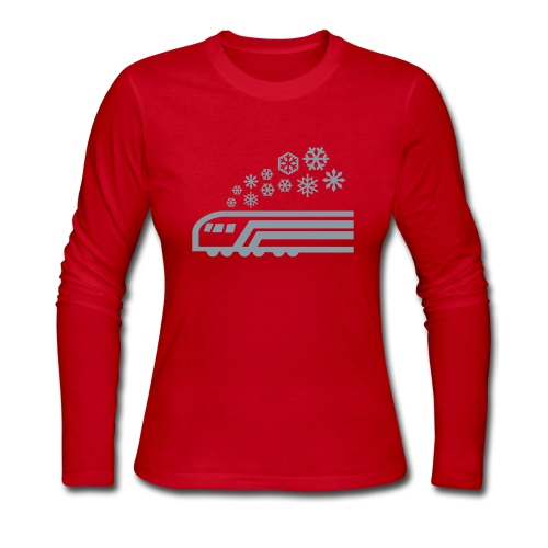 Snowflake Metallic Silver on Red Long Sleeve [NO NAME] - Women's Long Sleeve Jersey T-Shirt
