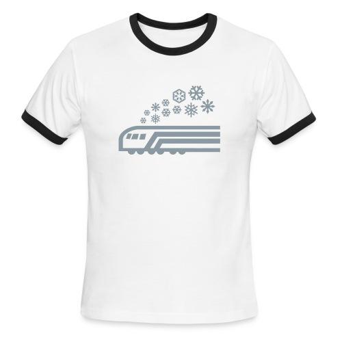 Snowflake Metallic Silver on Ringer [NO NAME] - Men's Ringer T-Shirt