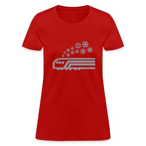 Snowflake Metallic Silver on Womens Lightweight Tee [Drinktrain.com] - Women's T-Shirt