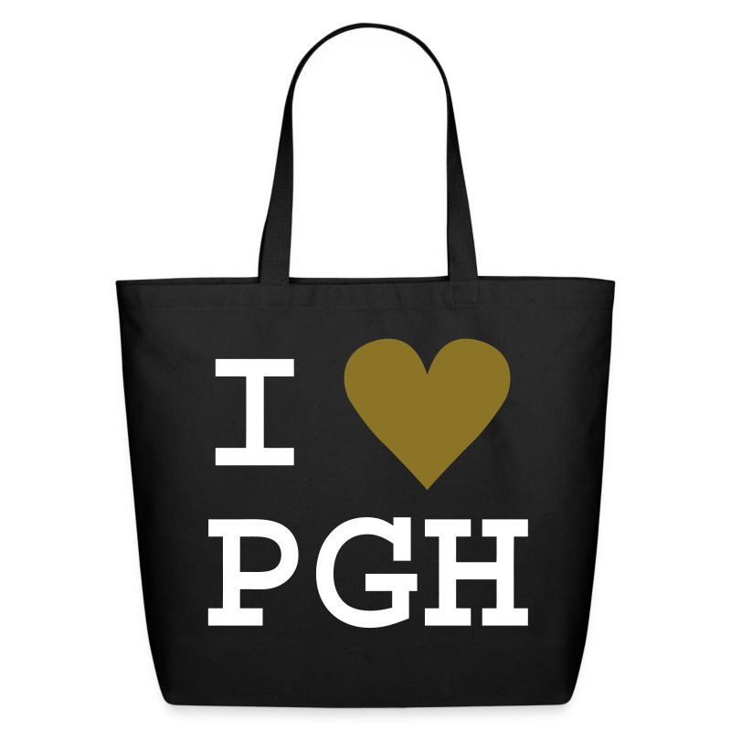 Black Tote with Gold Heart - Eco-Friendly Cotton Tote