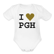 Baby Bodysuits ~ Baby Short Sleeve One Piece ~ White One size with Gold Heart