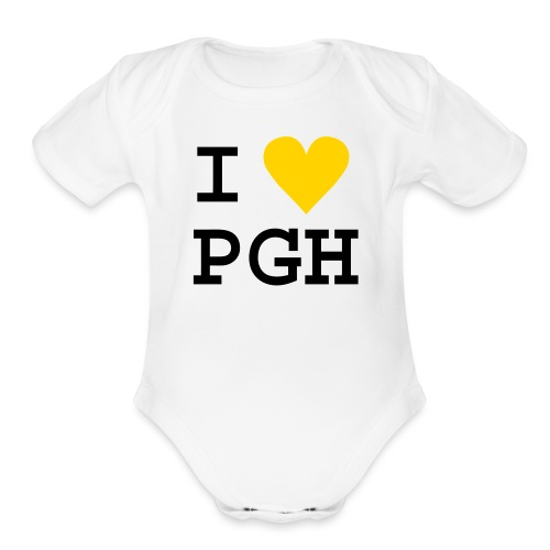 White One size with Yellow Heart - Organic Short Sleeve Baby Bodysuit