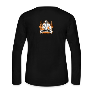 Women's Long Sleeve Jersey T-Shirt - Show your attitude! And tell them to Bring it! This shirt is made for more than just your afternoon on the field. It's a statement of its own! If it is football in the cold with your friends you want, or just to show the style and attitude you have. Bring I!. Show everyone you mean business! Intimidation is a key. Show your attitude! And tell them to Bring it