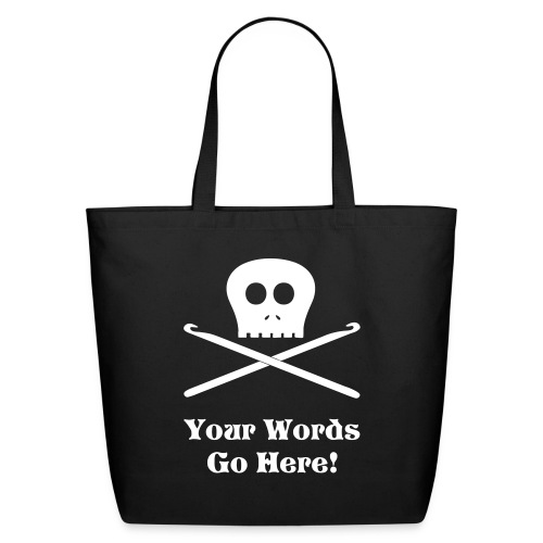 Skull & Crochet Hooks Tote Bag - Eco-Friendly Cotton Tote