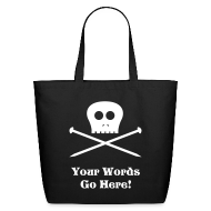 Bags & backpacks ~ Eco-Friendly Cotton Tote ~ Skull & Knitting Needles Tote Bag