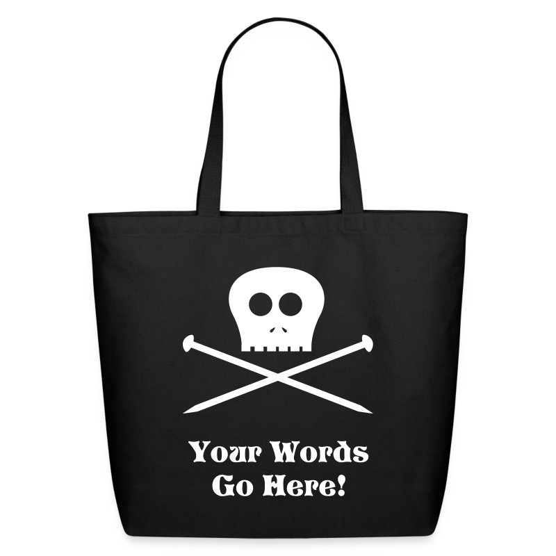 Skull & Knitting Needles Tote Bag - Eco-Friendly Cotton Tote