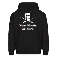 Hoodies ~ Men's Hoodie ~ Skull Scissors White Flex Ink