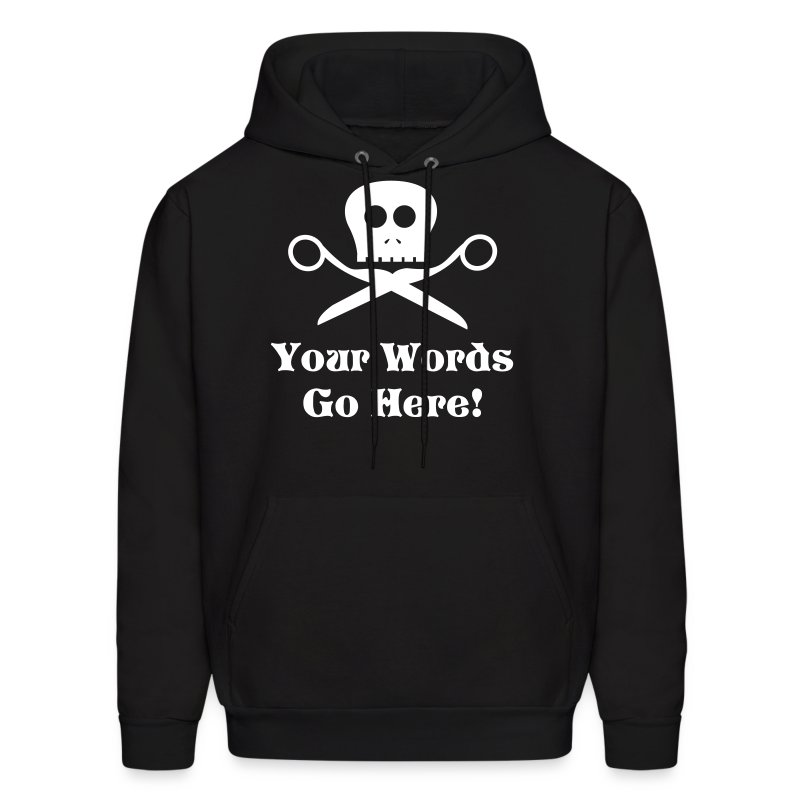 Skull Scissors White Flex Ink - Men's Hoodie