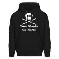 Hoodies ~ Men's Hoodie ~ Skull Crochet Hooks White Flex Ink