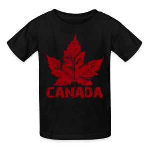 Black Cool Canada Souvenir Distressed Maple Leaf Art for Kids & Baby - Kids' T-Shirt