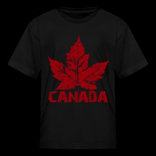 Black Cool Canada Souvenir Distressed Maple Leaf Art for Kids & Baby - Kids' T-Shirt