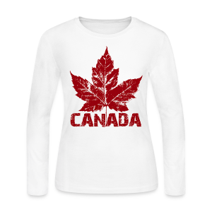 White Cool Canada Souvenir Distressed Maple Leaf Art for Women - Women's Long Sleeve Jersey T-Shirt