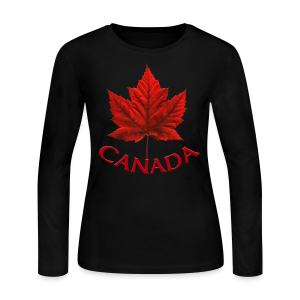 Women's Long Sleeve Canada Souvenir Jersey T- Shirt Maple Leaf Design - Women's Long Sleeve Jersey T-Shirt