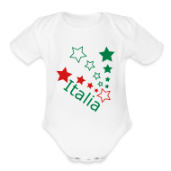 Baby Bodysuits ~ Baby Short Sleeve One Piece ~ Infaat ITALIA Star, White