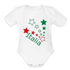 Infaat ITALIA Star, White - Short Sleeve Baby Bodysuit