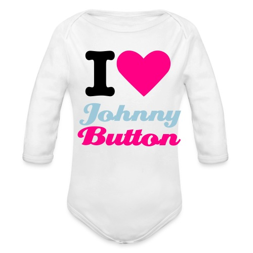 I Heart Johnny Button Longsleeve Onesy - Organic Long Sleeve Baby Bodysuit