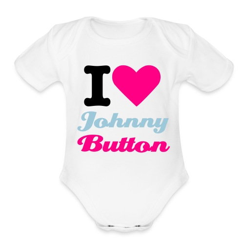 I Heart Johnny Button Onesy - Organic Short Sleeve Baby Bodysuit