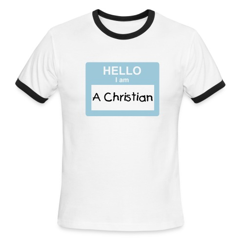 Hello I Am A Christian  Ringer T - Men's Ringer T-Shirt