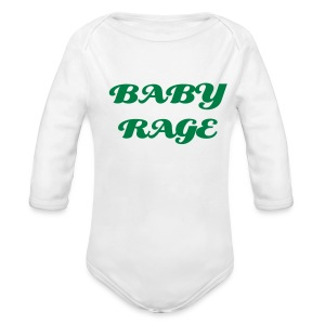 BABY RAGE ONE SIZE WHT/GRN - Long Sleeve Baby Bodysuit