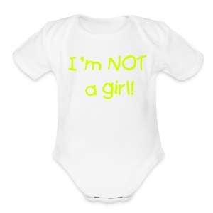 White Boy Layette- Not a Girl, One size - Short Sleeve Baby Bodysuit