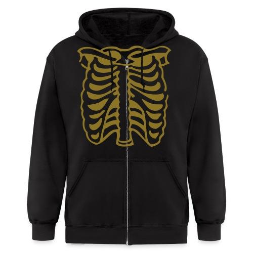 Metallic Gold Skeleton - Men's Zip Hoodie