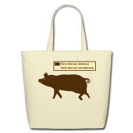 Bags & backpacks ~ Eco-Friendly Cotton Tote ~ Pig Butchering Guide - Cotton Tote Bag - 2013 SALE!