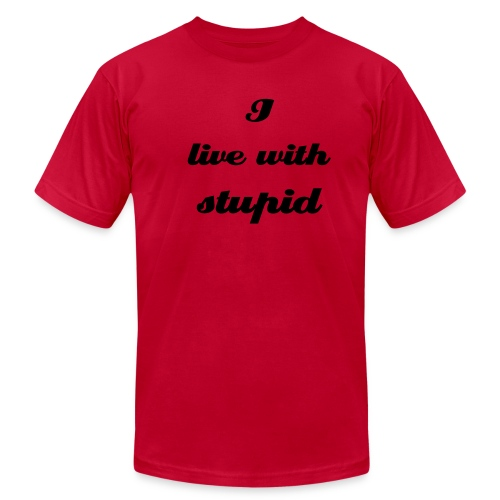 I live with stupid - Men's Fine Jersey T-Shirt