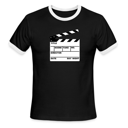 Men's Ringer T-Shirt - Movie clapperboard printed with material you can write on!